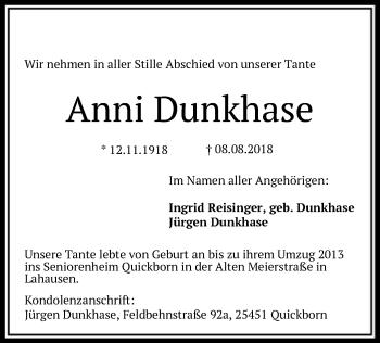 Traueranzeige für Anni Dunkhase vom 10.08.2018 aus SYK