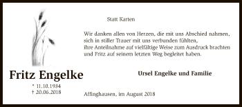 Traueranzeige für Fritz Engelke vom 10.08.2018 aus SYK