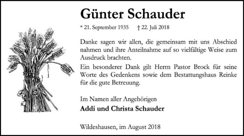 Traueranzeige für Günter Schauder vom 25.08.2018 aus SYK