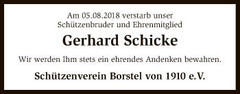 Traueranzeige für Gerhard Schicke vom 10.08.2018 aus SYK