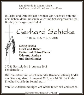 Traueranzeige für Gerhard Schicke vom 07.08.2018 aus SYK