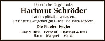 Traueranzeige für Hartmut Schröder vom 10.08.2018 aus SYK