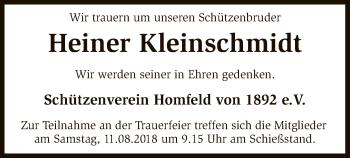 Traueranzeige von Heiner Kleinschmidt von SYK
