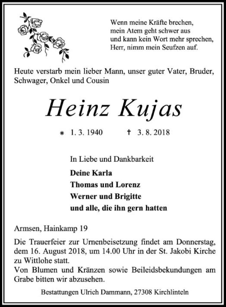 Traueranzeige für Heinz Kujas vom 14.08.2018 aus SYK