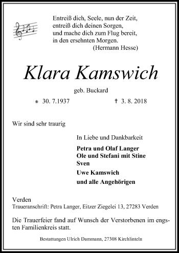 Traueranzeige für Klara Kamswich vom 10.08.2018 aus SYK