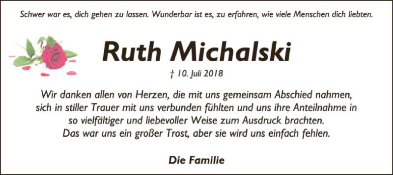 Traueranzeige für Ruth Michalski vom 18.08.2018 aus SYK