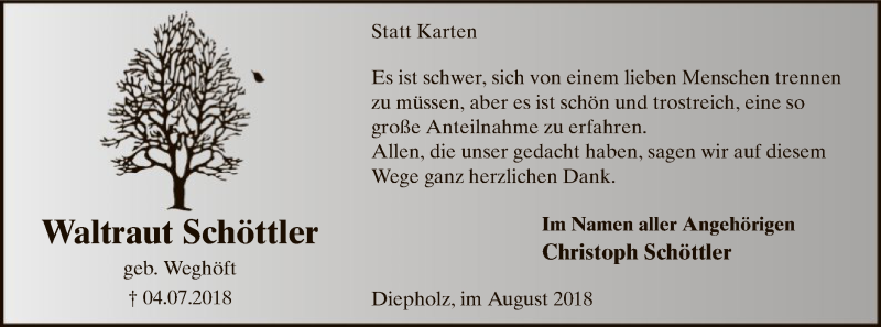 Anzeige von  Waltraut  Schöttler