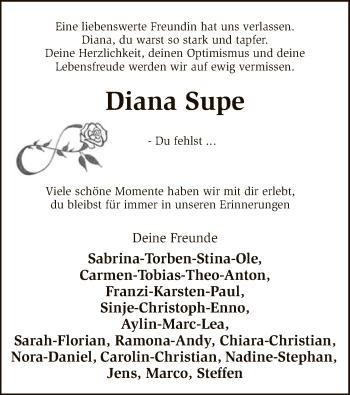 Traueranzeige für Diana Supe vom 15.09.2018 aus SYK