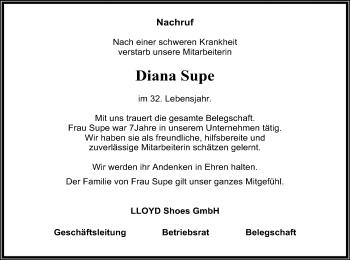 Traueranzeige für Diana Supe vom 18.09.2018 aus SYK