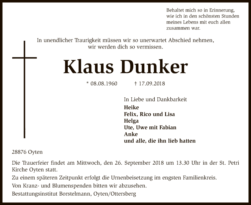 Traueranzeige für Klaus Dunker vom 22.09.2018 aus SYK