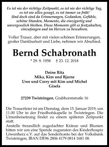 Traueranzeige für Bernd Schabronath vom 10.01.2019 aus SYK