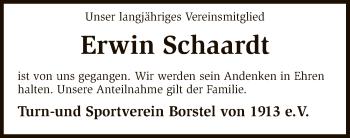 Traueranzeige für Erwin Schaardt vom 03.01.2019 aus SYK