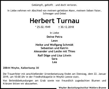 Traueranzeige für Herbert Turnau vom 12.01.2019 aus SYK