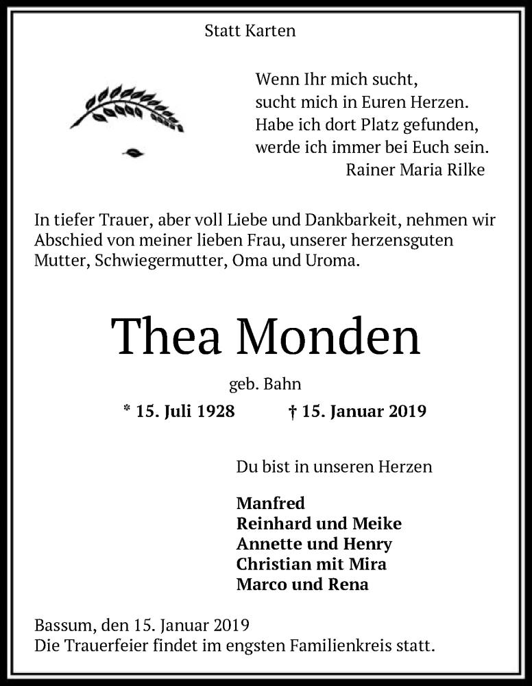 Traueranzeige für Thea Monden vom 19.01.2019 aus SYK