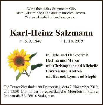 Traueranzeige von Karl-Heinz Salzmann von SYK