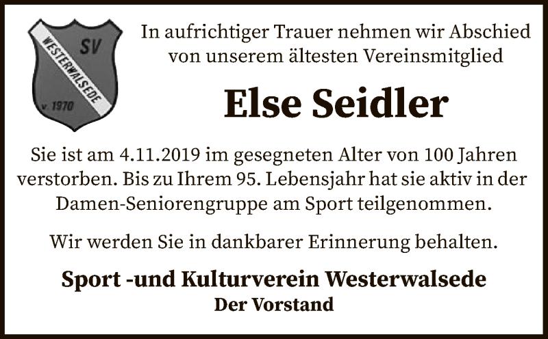 Traueranzeige für Else Seidler vom 09.11.2019 aus SYK