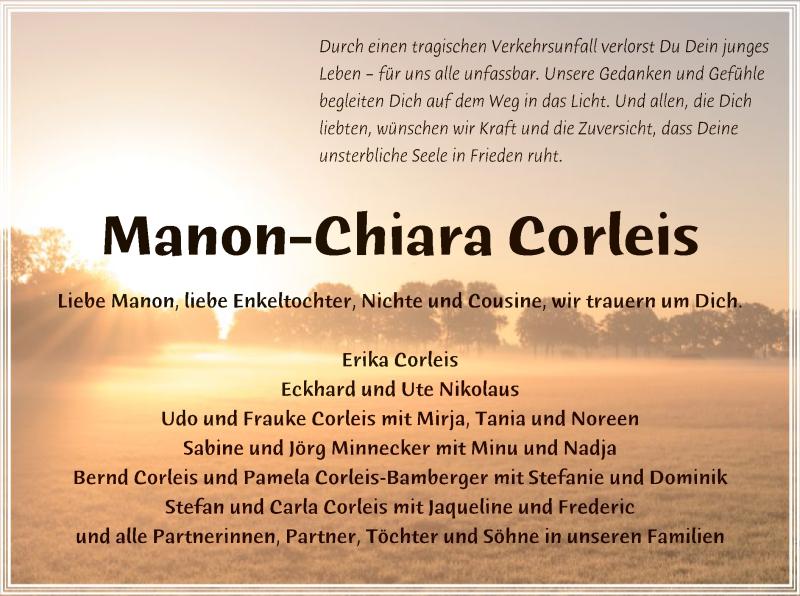 Traueranzeige für Manon-Chiara Corleis vom 07.11.2019 aus SYK
