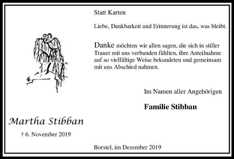Traueranzeige für Martha Stibban vom 07.12.2019 aus SYK