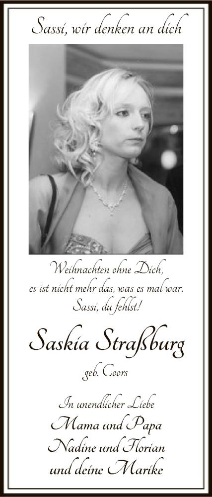 Traueranzeige für Saskia Coors vom 24.12.2019 aus SYK