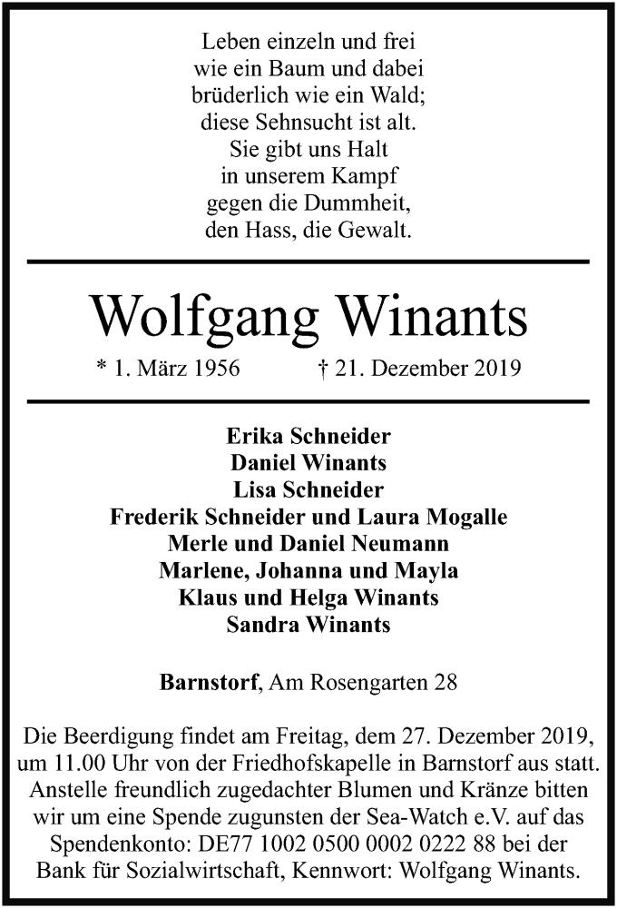 Traueranzeige für Wolfgang Winants vom 24.12.2019 aus SYK