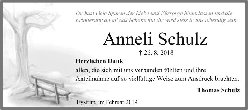 Traueranzeige für Anneli Schulz vom 09.02.2019 aus SYK