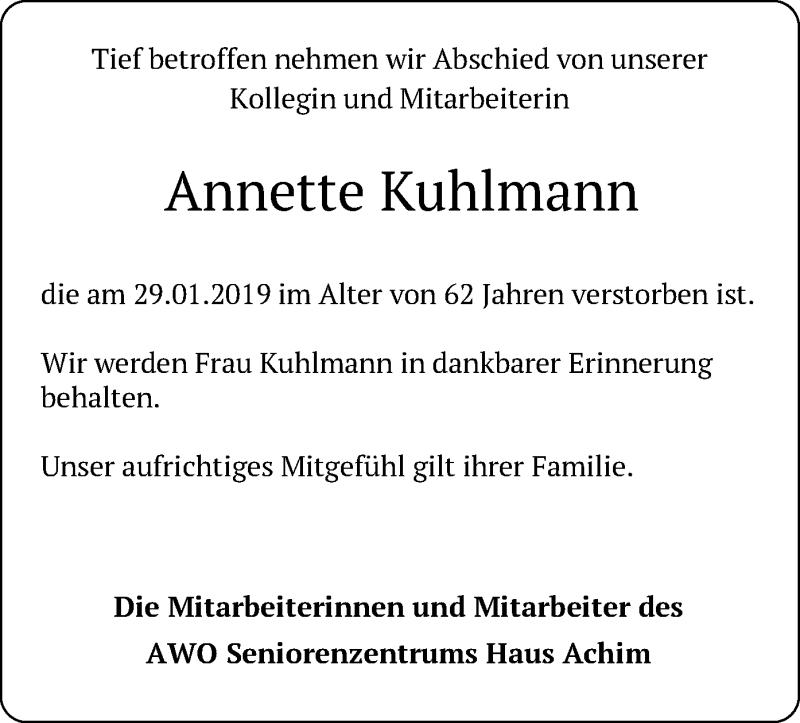 Traueranzeige für Annette Kuhlmann vom 12.02.2019 aus SYK