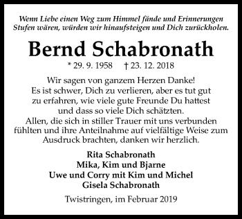 Traueranzeige für Bernd Schabronath vom 09.02.2019 aus SYK