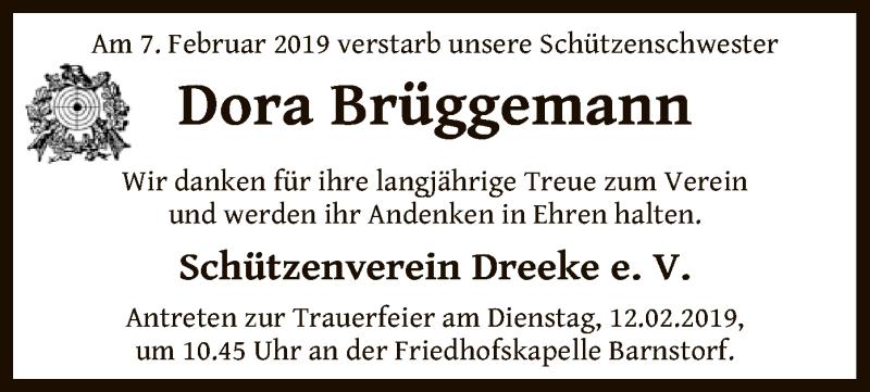 Traueranzeige für Dora Brüggemann vom 09.02.2019 aus SYK