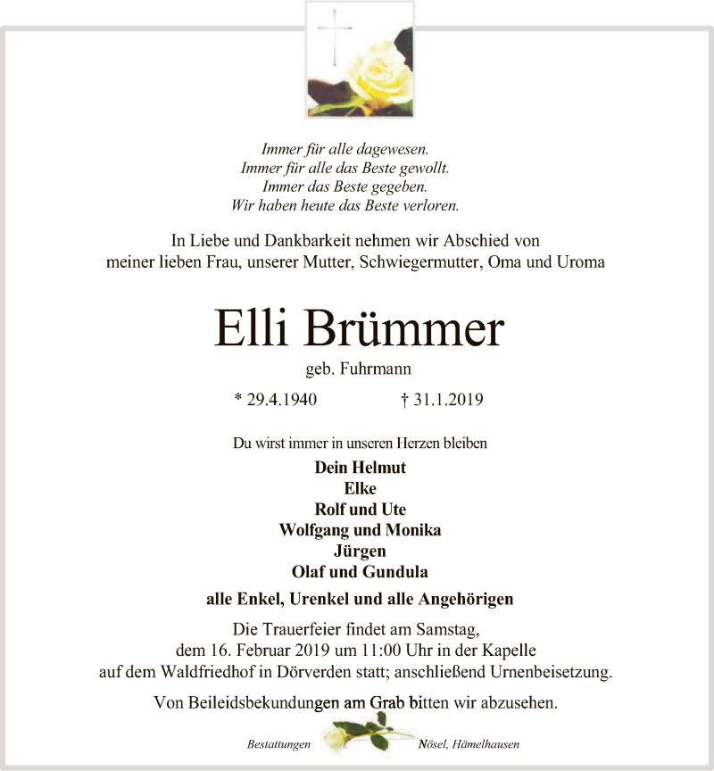 Traueranzeige für Elli Brümmer vom 09.02.2019 aus SYK