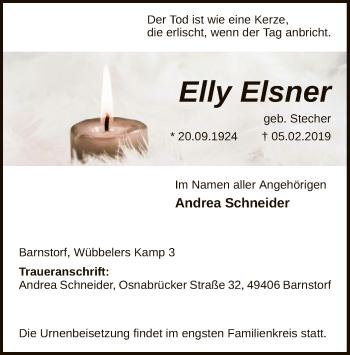 Traueranzeige für Elly Elsner vom 09.02.2019 aus SYK