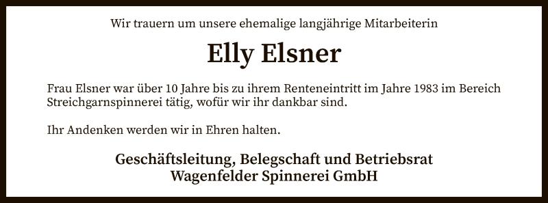 Traueranzeige für Elly Elsner vom 12.02.2019 aus SYK
