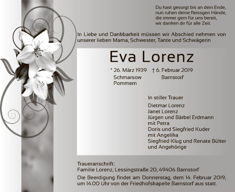 Traueranzeige für Eva Lorenz vom 09.02.2019 aus SYK