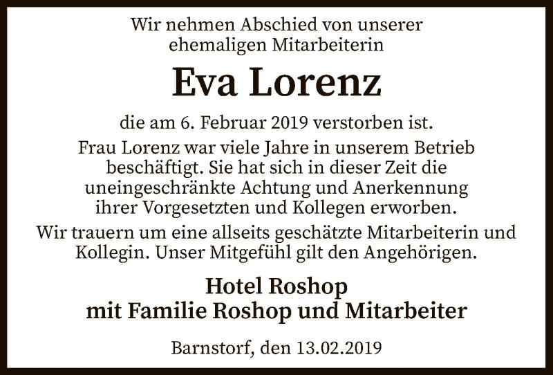 Traueranzeige für Eva Lorenz vom 13.02.2019 aus SYK