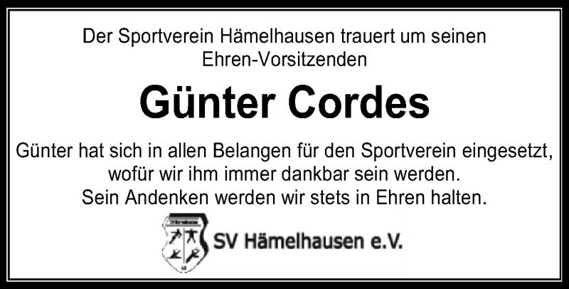 Traueranzeige für Günter Cordes vom 12.02.2019 aus SYK