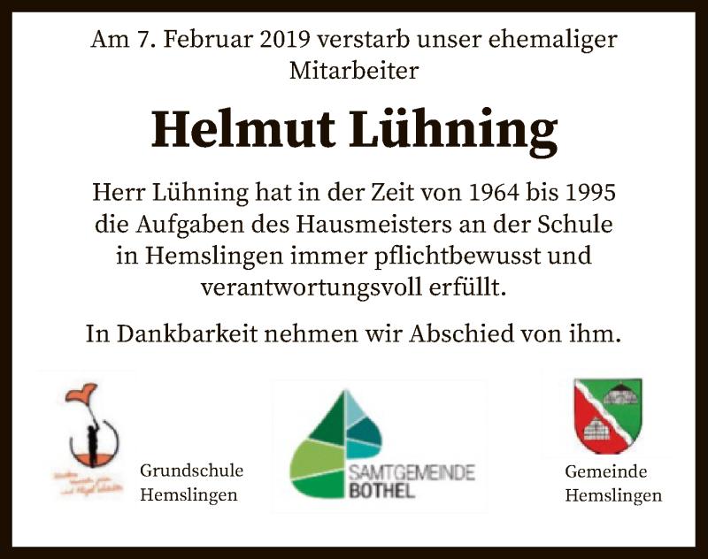 Traueranzeige für Helmut Lühning vom 13.02.2019 aus SYK