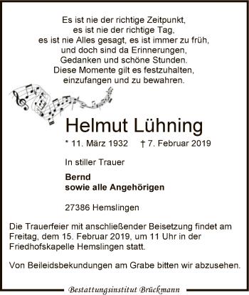 Traueranzeige für Helmut Lühning vom 09.02.2019 aus SYK