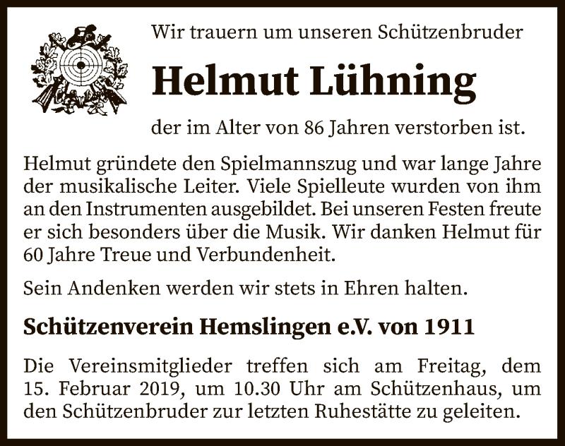 Traueranzeige für Helmut Lühning vom 12.02.2019 aus SYK