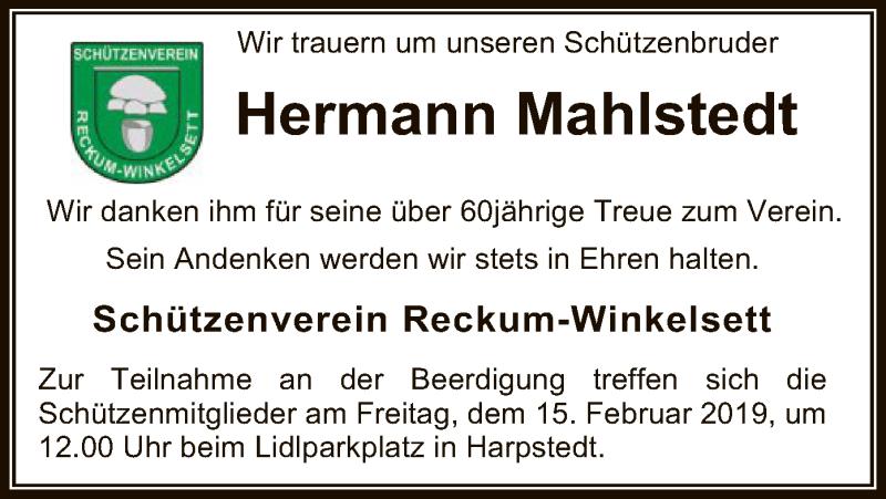 Traueranzeige für Hermann Mahlstedt vom 12.02.2019 aus SYK