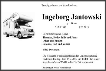 Traueranzeige für Ingeborg Jantowski vom 09.02.2019 aus SYK
