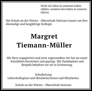 Traueranzeige für Margret Tiemann-Müller vom 12.02.2019 aus SYK