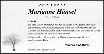 Traueranzeige für Marianne Hänsel vom 09.02.2019 aus SYK