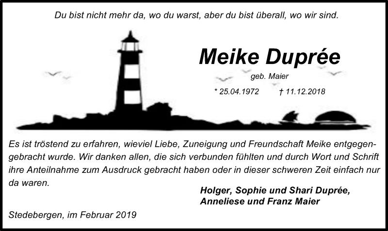 Traueranzeige für Meike Duprée vom 09.02.2019 aus SYK