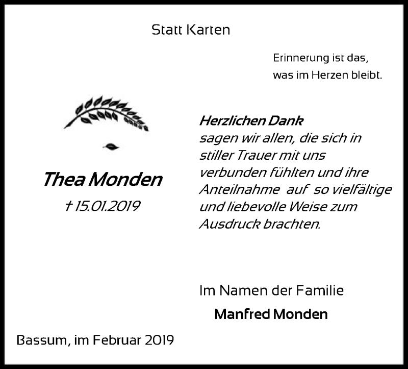 Traueranzeige für Thea Monden vom 09.02.2019 aus SYK