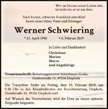 Traueranzeige für Werner Schwiering vom 09.02.2019 aus SYK
