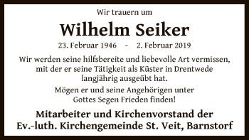 Traueranzeige für Wilhelm Seiker vom 11.02.2019 aus SYK