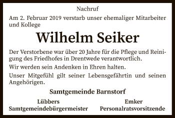 Traueranzeige für Wilhelm Seiker vom 06.02.2019 aus SYK