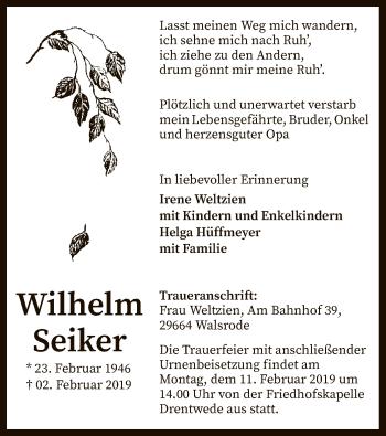 Traueranzeige für Wilhelm Seiker vom 05.02.2019 aus SYK