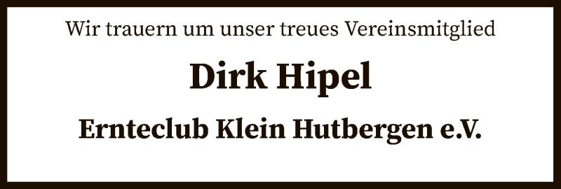 Traueranzeige für Dirk Hipel vom 06.03.2019 aus SYK