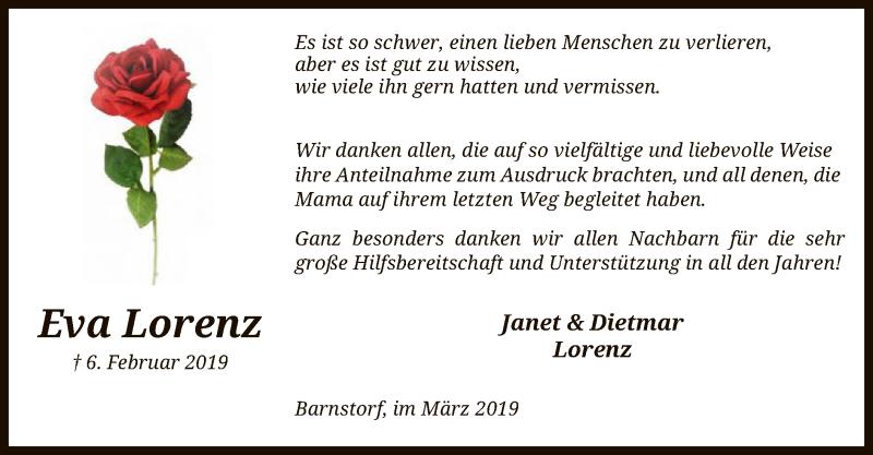 Traueranzeige für Eva Lorenz vom 30.03.2019 aus SYK