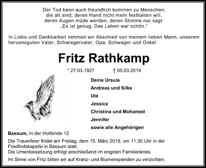 Traueranzeige für Fritz Rathkamp vom 09.03.2019 aus SYK